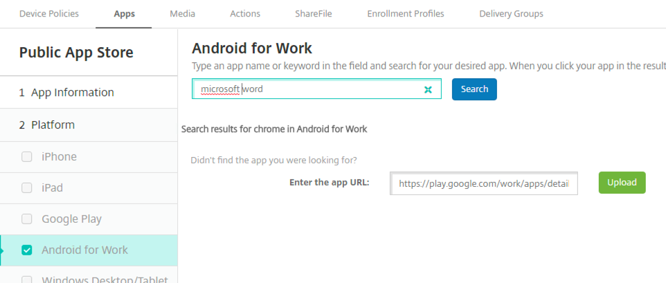 Setting up Android Enterprise in XenMobile (Android for Work